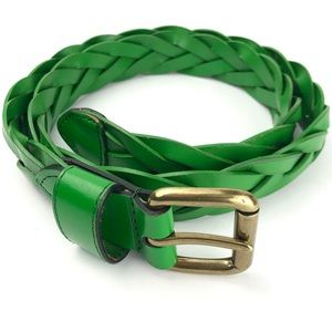 Accessories - Green Braided Leather Belt